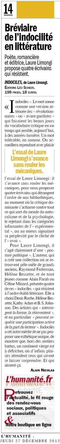 Alain Nicolas, L'Humanité, 27/12/2012